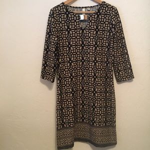Tacera long sleeve dress Black and Tan PL